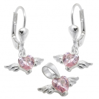 Set 13x8mm Anhänger und Ohrringe Herz-Zirkonia pink mit Flügeln Silber 925