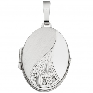 Medaillon oval 585 Gold Weißgold mattiert 3 Diamanten Anhänger zum Öffnen