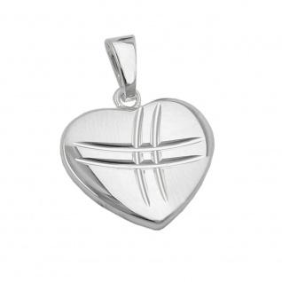 Anhänger 15x16mm Herz matt-glänzend diamantiert Silber 925