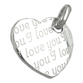 Anhänger 20x22mm Herz mit all-over-Prägung - I love you - glänzend Silber 925