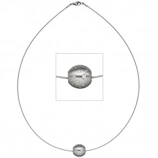 Collier Halsreif mit Anhänger Kugel Edelstahl matt mit Zirkonia 45 cm