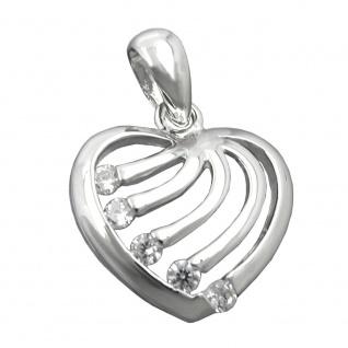 Anhänger 15x16mm Herz mit Zirkonias rhodiniert glänzend Silber 925