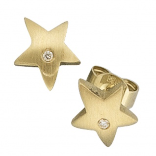 Ohrstecker Stern 585 Gold Gelbgold matt 2 Diamanten Brillanten Ohrringe