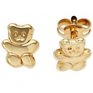 Kinder Ohrstecker Teddy-Bär 333 Gold Gelbgold Ohrringe Kinderohrringe