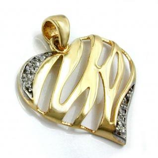 Anhänger 17x20mm Herz glänzend mit 9 Zirkonias 9Kt GOLD