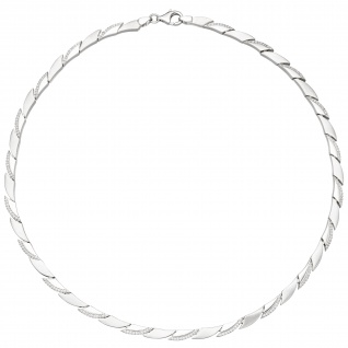 Collier Halskette 925 Silber 210 Zirkonia 45 cm Kette Silberkette
