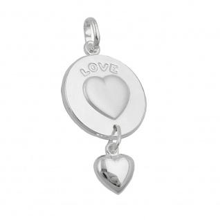 Anhänger 28x14mm 2 Herzen Platte mit Gravur - LOVE- und Herz Pendel Silber 925