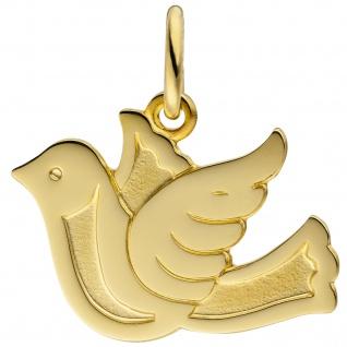 Anhänger Taube Friedenstaube 333 Gold Gelbgold teil matt Goldanhänger