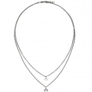 Collier Kette mit Anhänger Dreieck 2-reihig Edelstahl 3 Zirkonia 45 cm Halskette