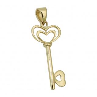 Anhänger, Herz Schlüssel, 9Kt GOLD