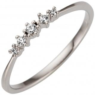Damen Ring schmal 585 Gold Weißgold 5 Diamanten Brillanten 0, 08ct.