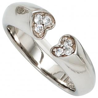 Damen Ring Herz Herzen offen 925 Sterling Silber 6 Zirkonia Silberring
