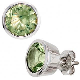 Ohrstecker rund 925 Sterling Silber rhodiniert 2 Zirkonia grün Ohrringe