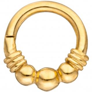 Segmentring Edelstahl gold farben Klick-System Scharnier Ringstärke 1, 2 mm