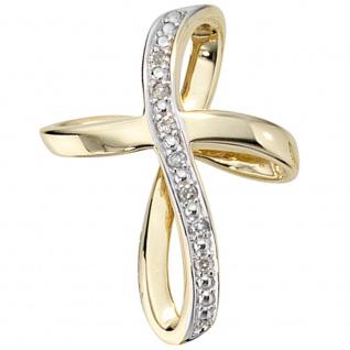Anhänger Kreuz 585 Gold Gelbgold 7 Diamanten Brillanten Kreuzanhänger Goldkreuz