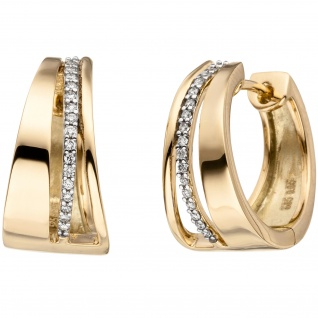 Creolen 585 Gold Gelbgold bicolor 34 Diamanten Brillanten Ohrringe Goldcreolen