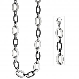 Collier Halskette aus Edelstahl mit schwarzer Keramik 47 cm Kette