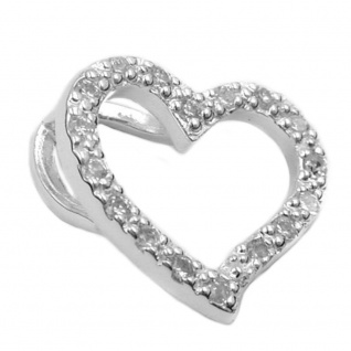 Anhänger14x16mm Herz mit Zirkonias Silber 925