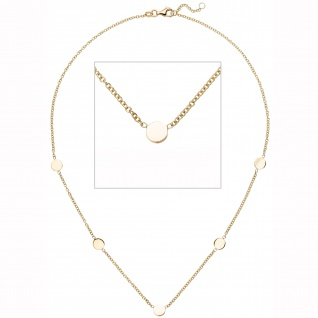 Collier Halskette mit Plättchen 375 Gold Gelbgold 43 cm Kette