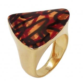 Ring 25x21mm Dreieck braun farbig lackiert 3 Mikron vergoldet Ringgröße 60