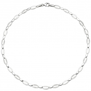 Collier Halskette 925 Silber 168 Zirkonia 45 cm Kette Silberkette