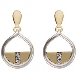 Ohrhänger 585 Gold Weißgold Gelbgold bicolor 6 Diamanten Brillanten 0, 02ct.