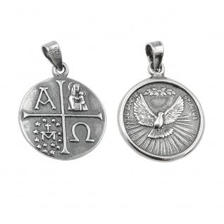 Anhänger 15mm Medaille Taube christliche Symbole geschwärzt Silber 925