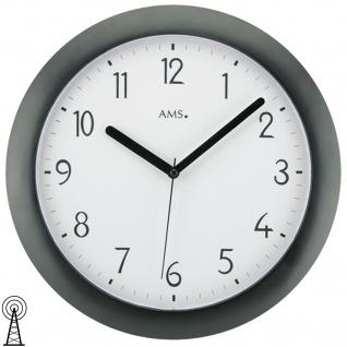 AMS 5845 Wanduhr Funk Funkwanduhr analog schwarz rund