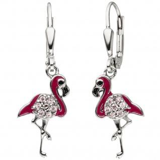 Kinder Ohrhänger Flamingo pink 925 Silber 14 Zirkonia Ohrringe Kinderohrringe
