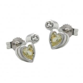 Stecker 8x5mm Herz mit Zirkonia und synthetischem Peridot Silber 925