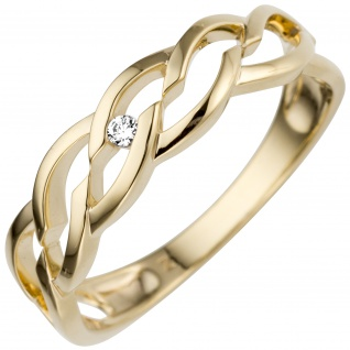 Damen Ring 585 Gold Gelbgold 1 Diamant Brillant 0, 02ct.