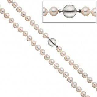 Perlenkette aus Akoya Perlen 45 cm Schließe 925 Sterling Silber matt