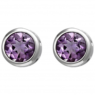 Ohrstecker 925 Sterling Silber 2 Amethyste lila violett Ohrringe