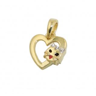Anhänger Herz mit Katzenkopf 10x10mm 9Kt GOLD
