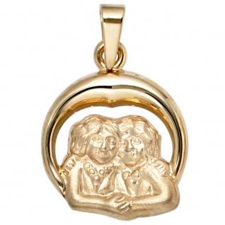 Anhänger Sternzeichen Zwilling 375 Gold Gelbgold matt Sternzeichenanhänger