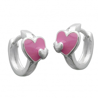 Creole 12x2mm Klappscharnier Herz pink-farbig lackiert Silber 925