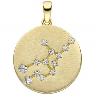 Anhänger Sternzeichen Jungfrau 333 Gold Gelbgold matt 13 Zirkonia Goldanhäng