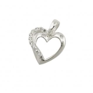 Anhänger 13x13mm Herz mit Zirkonias Silber 925