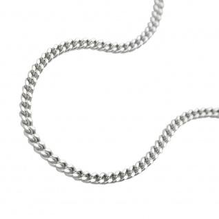 Kette 1, 4mm Flachpanzerkette 2x diamantiert Silber 925 45cm