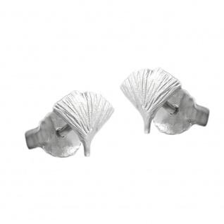Stecker 7mm Ginkgoblatt matt Silber 925