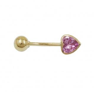 Piercing 20x6mm Zirkonia-Herz pink 14Kt GOLD