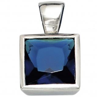 Anhänger quadratisch 925 Sterling Silber rhodiniert 1 Zirkonia blau