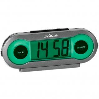 Atlanta 1685 Wecker Quarz digital grau mit grünem Licht Snooze Digitalwecker