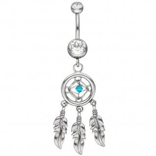 Bauchnabel Piercing Traumfänger aus Edelstahl mit Kristallsteinen