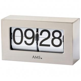 AMS 1175 Tischuhr Quarz silbern Metall Klappzahlen Klappzahlenuhr eckig
