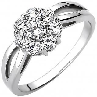Damen Ring 925 Sterling Silber 8 Zirkonia Silberring