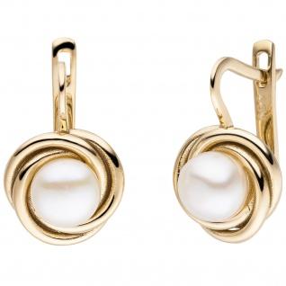 Ohrhänger 333 Gold Gelbgold 2 Süßwasser Perlen Ohrringe Boutons