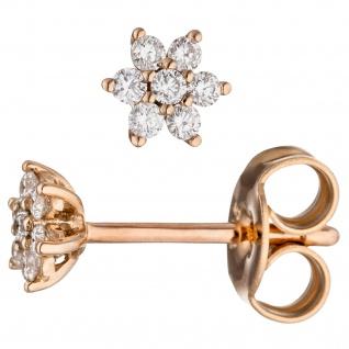 Ohrstecker 585 Gold Rotgold 14 Diamanten Brillanten Ohrringe Diamantohrringe