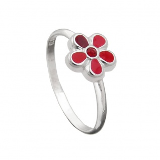 Ring Kinderring mit Blume rot Silber 925 Ringgröße 44