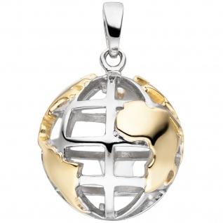 Anhänger Weltkugel 925 Sterling Silber bicolor vergoldet